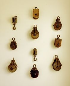 Small scale antique wooden pulleys too beautiful to leave in a drawer.