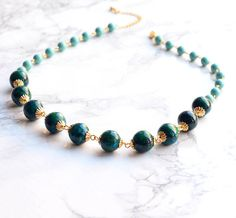 Green necklace, blue necklace, gemstone necklace, elegant necklace, one of a kind necklace Green Necklace, Gemstone Necklace, Beaded Necklace, Beaded Bracelets, Cardboard Jewelry Boxes, Swarovski Pearls, Handmade Necklaces, Turquoise, Gemstones