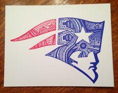 Original New England Patriots 11x14 Pen and Ink design. Go Pats!