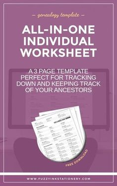 genealogy printable, worksheet template, family history, ancestry research, individual worksheet, free download, fuzzy ink stationery