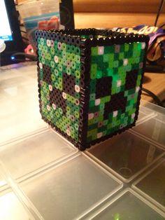 Pen/Pencil holder  Minecraft Creeper perler beads by KaseysPerlerParlour Minecraft Room, Minecraft Party, Pearler Beads, Fuse Beads, Perler Patterns, Bead Patterns, Creeper Costume, Stationary Storage, Rainbow Loom