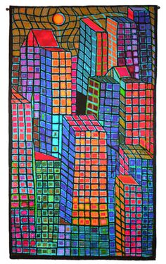 Berks County artist Mary Stoudt is chosen for prestigious 'Quilt National' show Fabric Art, Fabric Design, Landscape Art Quilts, Contemporary Fabric, House Quilts, Traditional Quilts, Design Crafts, House Painting, Quilting Designs