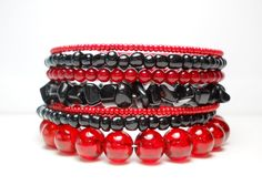 Onyx and Red Stacked Bracelet Beaded Wrap by WrappedandSnapped