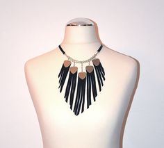 Black leather necklace with silcer hearts and fringes