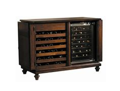 Bliss - Doors open a full 270 degrees.  Double nesting wine drawers.  Storage space with 2 adjustable shelves which can be removed to accomodate a wine refrigeration unit. (not included).  Americana Cherry finish, lightly distressed.