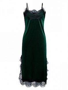 Shop Deep Green Velvet Spaghetti Strap Lace Trim Side Split Maxi Dress from choies.com .Free shipping Worldwide.$27.99