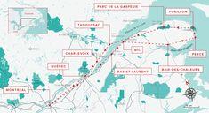 road trip 2 semaines gaspésie carte Quebec Montreal, Old Quebec, Quebec City, Charlevoix, Canada Travel, Cartography, Summer Travel, Vacation Destinations, Travel Inspiration