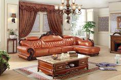 European leather sofa set living room sofa made in China L shape corner sofa wooden frame