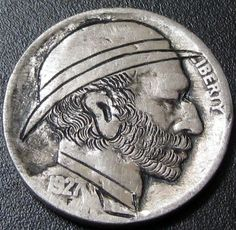 Detailed Hobo Buffalo Nickel Hand Carved Man in Hat with Beard T213 | eBay