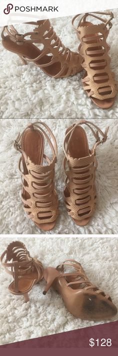 """Givenchy Nude Tan Snakeskin Cage Heels Gorgeous snakeskin heels from Givenchy in a very flattering tan color. Heel is about 3.5"""". In very good condition, only slight sign of wear on the sole. Givenchy Shoes"""