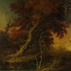 Autumn Landscape Oil on Canvas Not signed Revival Frame 19th Century 2