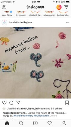 Smocking Patterns, Embroidery Stitches Tutorial, Baby Embroidery, Embroidery Ideas, Handmade Embroidery Designs, Silk Ribbon, Baby Sewing, Needle And Thread, Elephant