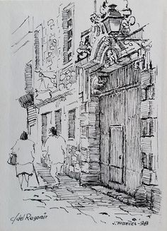 carrer del Regomir, Barcelona. Joaquim Francés (tinta #ink) Ink Pen Drawings, Drawing Sketches, Draw House, Graphic Design Illustration, Illustration Art, Ant Drawing, Landscape Sketch, Architecture Drawings, Sketch Painting