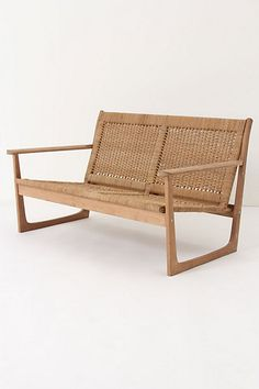 Cordage Settee Woven cattail rope and pristine wood make for a natural two-seater with an exotic, far-flung feel. From Lostine by Robert Ogden Repurposed Furniture, Home Decor Furniture, Furniture Design, Outdoor Furniture, Unique Furniture, Garden Furniture, Take A Seat, Love Seat, Chinoiserie