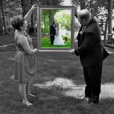 Wedding idea. The best man and maid if honor looking at the photo of the bride and groom