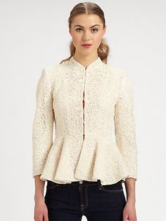 """Alice + Olivia Polly Lace Peplum JacketA Victorian-inspired design featuring ornate lace, a refined stand collar and a waist-defining peplum. Stand collar Front hook & eye closure Three-quarter length sleeves Front & back waist darts Peplum About 23"""" from shoulder to hem Cotton/lyocell Contrast: silk Lined Dry clean Imported $495"""