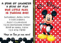 Mickey Mouse Birthday Party Digital Invitation and Thank you. $8.00, via Etsy.