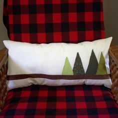Evergreen Pillow - Holiday Decoration - Christmas Decoration - Log Cabin Decor - Bedroon Pillow - Gift for Host - Rustic Lodge Decoration by thebluekeystone on Etsy