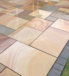 Sawn mint sandstone 600900 terrace paving stones – Nustone # design … - Modern Sandstone Paving Slabs, Paving Stone Patio, Outdoor Paving, Patio Slabs, Paving Stones, Slate Paving, Garden Slabs, Garden Paving, Patio Kits