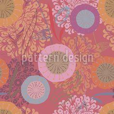 Wunderschönes Fantasieblumen-Design mit floralen Ornamenten und Kreisen.