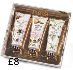 Mana Aromatherapy Hand Creams Nourishes dry hands whilst infusing with the soft aromas of magnolia, jasmine or lily of the valley. Suitable for all skin types. Set of 3, 65g each. Presentation box measures H18 x W17 x D3cm. COLLECTION/DELIVERY FROM ABERDEEN OR DIRECT DISPATCH VIA PAYPAL/CARD PAYMENT (£3.95 delivery) PM/COMMENT FOR DETAILS.