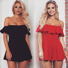 Our Della Ruffle Romper available in black red and white color!  Shop: WWW.LUSHFOX.COM