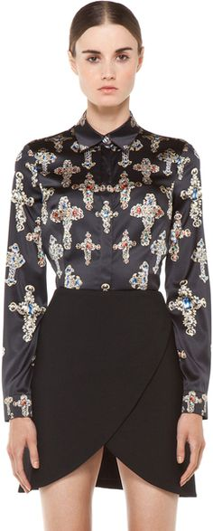 VERSACE   Fitted Cross Blouse in Black  WANT THE SKIRT! (a favourite repin of VIP Fashion Australia - providing a portal to exclusive fashion au and style from across the globe.  www.vipfashionaus... - Specialising in blacklabel fashion - womens clothing Australia - global fashion houses - Italian fashion and fashion boutiques )