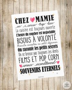 """Affiche """"Chez Papi & Mamie"""" ou """"Chez Mamie"""" Photo quality poster to offer to your Grandparents! Ideal as a gift for Grandmothers Day! format: 21 x Frame not included. Cadeau Grand Parents, Grandmother's Day, A4 Poster, Grandma And Grandpa, Lettering, Positive Attitude, Grandparents, Kids And Parenting, Cool Words"""