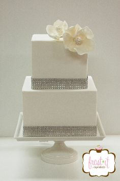 Fondant wedding cake with bling ribbon and sugar flowers Fondant Cake Wedding Cake Bling Cake