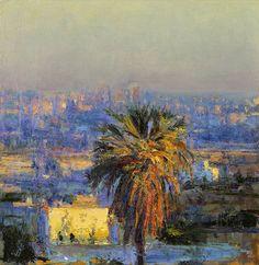 Andrew Gifford - Towards Jerusalem from Ramallah last light -  Oil on panel 11 x 10¾ ins (28.02 x 27.03 cms)