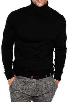 Men's Classic Black Cashmere Turtleneck Sweater, and Low Waisted Tweed Trousers. Men's Fall Winter Fashion.