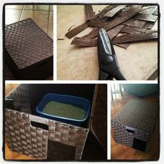 DOG-PROOF and STYLISH Litterbox for $10! Bought the basket at Ross and cut out a door big enough for the cat but small enough to keep the pups out.