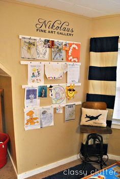 Turn a wall in the house into a gallery for the kid's artwork. Love this idea for when we have kids Displaying Kids Artwork, Artwork Display, Artwork Wall, Display Wall, Hanging Kids Artwork, Wall Art, Diy Artwork, Display Ideas, Kids Art Galleries