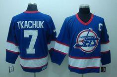Jets  7 Keith Tkachuk Embroidered Blue CCM Throwback NHL Jersey 58b15c5da64
