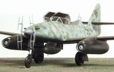 """Me-262B-1a/U1 Night Fighter.  Several two-seat trainer variants of the Me 262, the Me 262 B-1a, had been adapted as night fighters, complete with on-board FuG 218 Neptun radar and Hirschgeweih (""""stag's antlers"""") antenna, as the B-1a/U1 version. Serving with 10 Staffel, Nachtjagdgeschwader 11, near Berlin, these few aircraft (alongside several single-seat examples) accounted for most of the 13 Mosquitoes lost over Berlin in the first three months of 1945."""