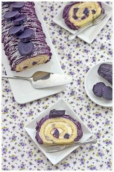 Purple Sweet Potato Roll Cake I need to start a category for foods that look… Cake Roll Recipes, Dessert Recipes, Food Cakes, Cupcake Cakes, Sweet Potato Rolls, Sponge Cake Roll, Swiss Roll Cakes, Purple Cakes, Purple Sweet Potatoes