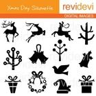 Christmas clipart, xmas day silhouette (reindeers, trees). This clipart set features christmas elements in silhouette.  These cliparts are great fo...