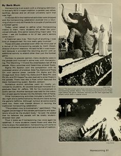 "Spectrum Green Yearbook, 1977. ""Steve Voorhees of Sigma Phi Epsilon walks along side his fraternity's winning homecoming float, Homecoming: A tradition fighting to make a come back, Sigma Alpha Epsilon, ""Welcomes Black Alumni"", Fall 1976, Ohio University Archives"