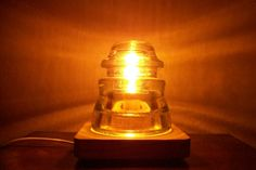 Items similar to Armstrong Antique Glass Insulator Night Light / Desk Lamp on Etsy