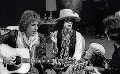 Bob Dylan and Joan Baez in His Dressing Room in 1975