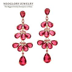 Neoglory Austria  Light Yellow Gold Color Zircon Drop Chandelier Earrings For Women 2017 Fashion Jewelry Brand Arrival BIGE1 QC