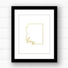 Gold foil Arizona home print featuring real gold foil! Whether you call Phoenix, Tucson, or Sedona home, this sweet home Arizona print will show your love of your proud, southwestern state!  ________________________________________________________ GIMME ALL THE DETAILS:  —Print measures 5x7 or 8x10 and has a plenty of white space for easy framing.  —Printed on premium 100 lb paper using gold foil Due to the nature of the foiling technique, every print will be different…