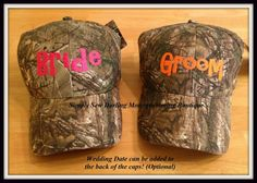 Personalized Bride or Groom Camo Hat with Wedding Date on Etsy, $15.00 @allisonkorbein this is beautiful!!!! im gonnna order them for christmass!!!!!