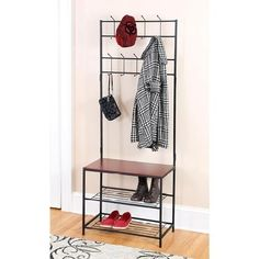 Entryway bench with rack Organize and declutter your entryway or mudroom with this all-in-one solution. This metal rack features 18 hooks for hanging coats, swe...