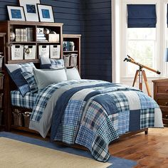 This relaxed plaid pattern brings classic American style to your sleep space. Lightweight like your warm-weather clothes, this patchwork quilt is the perfect summertime layer. Made of yarn-dyed cotton, its color is long-lasting and wonderfully comfortable. BCI (Better Cotton Initiative) certified assures that cotton fiber is grown following environmental management principles. By buying cotton products from Pottery Barn Teen, you're supporting responsible cotton production. STANDARD 100 by OEKO- Cool Bedrooms For Boys, Boys Bedroom Decor, Teen Girl Bedrooms, Awesome Bedrooms, Bedroom Ideas, Girl Rooms, Men Bedroom, Teen Boy Bedding, Sports Bedding