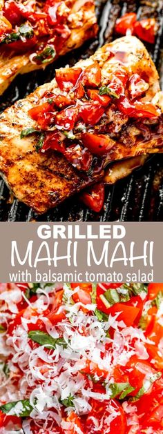 Served with a fresh balsamic tomato salad, this juicy Grilled Mahi Mahi Recipe is an easy and flavorful fish dinner that can be grilled or cooked on the stove. #mahimahi #grilledmahimahi #howtocookmahimahi #tomatosaladrecipe #balsamicsalad Cooking Mahi Mahi, Grilled Mahi Mahi, Grilled Fish, Grilled Salmon, Shellfish Recipes, Seafood Recipes, Dinner Recipes, Seafood Meals, Tilapia Recipes