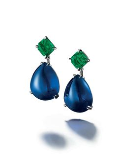 A pair of 21.17 and 20.57 carats Burma sapphire and Colombian emerald earrings, by Meister