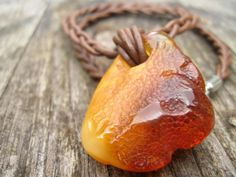 Raw Honey Baltic Amber Charm Leather Necklace by DreamsFactory