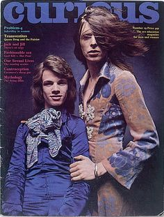 """""""David Bowie on the cover of Curious magazine with designer Freddie Burretti, May 1971. Dress by Michael Fish. """""""