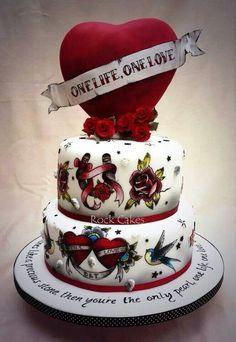 Traditional tattoo wedding cake #rockabilly